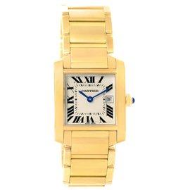 Cartier Tank Francaise W50014N2 18K Yellow Gold Quartz 25mm Womens Watch