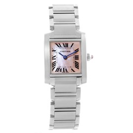Cartier Tank Francaise W51028Q3 Stainless Steel & Pink Mother of Pearl Dial 20mm Womens Watch