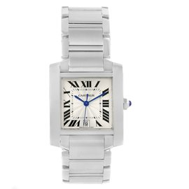 Cartier Tank Francaise W51002Q3 Stainless Steel & Silver Dial 28mm Unisex Watch