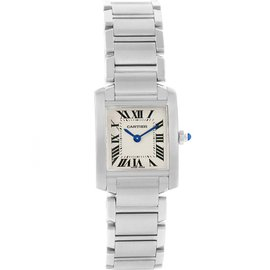 Cartier Tank Francaise W51008Q3 Stainless Steel & Silver Roman Dial Quartz 20mm Womens Watch