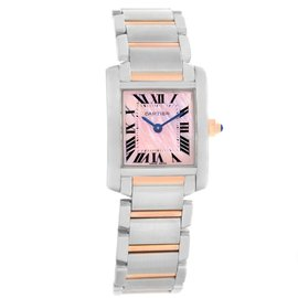 Cartier Tank Francaise W51027Q4 Stainless Steel and 18K Rose Gold Mother Of Pearl 25mm Womens Watch