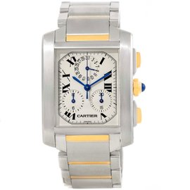 Cartier Tank Francaise W51004Q4 Stainless Steel/18K Yellow Gold Chrongraph 28mm Mens Watch