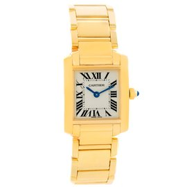 Cartier Tank Francaise W50002N2 Yellow Gold Silver Dial 20mm Womens Watch