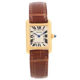 Cartier Tank Louis W1529856 18K Yellow Gold & Leather Quartz 22mm Womens Watch
