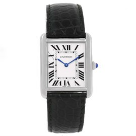 Cartier Tank Solo W1018355 Stainless Steel Silver Dial 27mm Unisex Watch
