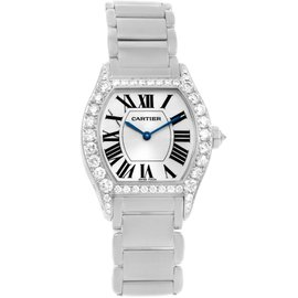 Cartier Tortue WA5072W9 18K White Gold Diamond 28mm Womens Watch