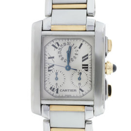 Cartier Tank Francaise 2303 Two Tone White Roman Dial 28mm Womens Watch