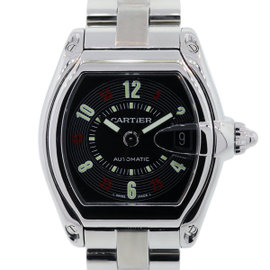 Cartier Roadster Stainless Steel Black Casino Dial Mens Automatic Watch