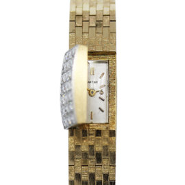 Cartier 14K Yellow Gold Backwinding 0.56ct. Diamond Covered 9.5mm Womens Vintage Watch