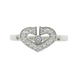 Cartier 18k White Gold Diamond C Heart Ring Size 3.75