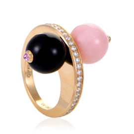 Cartier Les Delices de Goa 18K Rose Gold Diamond Quartz & Onyx Ring Size 6.75