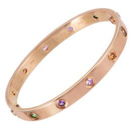Cartier Love 18K Rose Gold Gemstone Bangle Bracelet Size 16