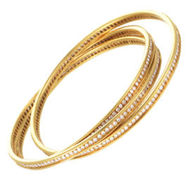 Cartier 18K Yellow Gold Diamond Pave Bangle Bracelet