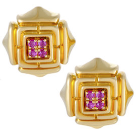 Cartier 18K Yellow Gold Ruby Earrings
