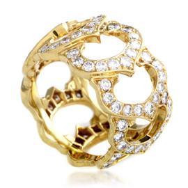 Cartier C de Cartier 18K Yellow Gold Diamond Band Ring Size 5.25