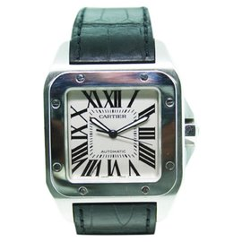 Cartier Santos 100 W20073X8 Stainless Steel Black Leather Mens Watch