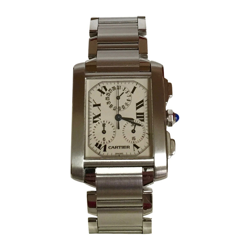 """Image of """"Cartier Tank Francaise Chronoflex Stainless Steel Watch W51001Q3"""""""