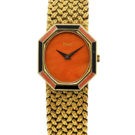 Piaget P341D2 18K Yellow Gold Coral & Onyx Vintage Womens Watch