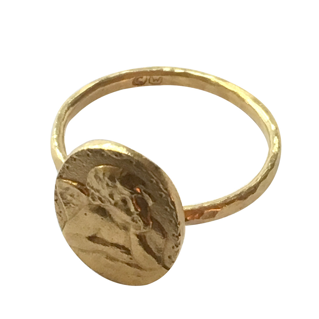 "Image of ""Cathy Waterman 22K Yellow Gold with Putti Angel Relief Ring Size 6.5"""