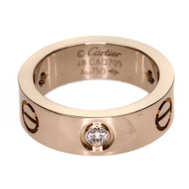Cartier 18K Pink Gold Half Diamond Love Ring Size 4.5