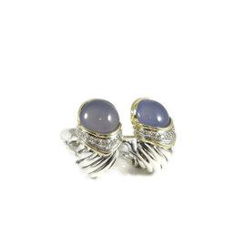 David Yurman Sterling Silver 18K Yellow Gold Blue Chalcedony Diamond Capri Earrings