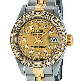 Rolex Datejust SS and 18K Yellow Gold Green Vignette Diamond Dial 26mm Women's Watch