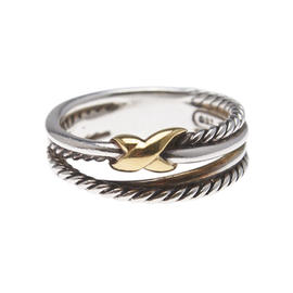 David Yurman Sterling Silver & 18K Yellow Gold Cable X Ring Size 6.5