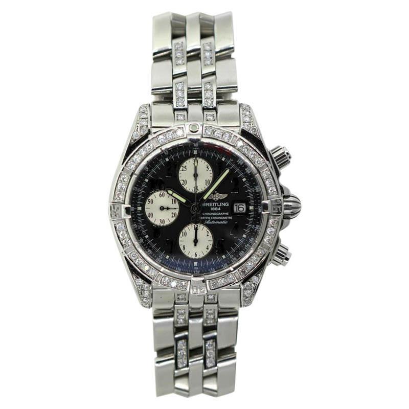 "Image of ""Breitling Chronographe Stainless Steel & Diamond Mens Watch"""