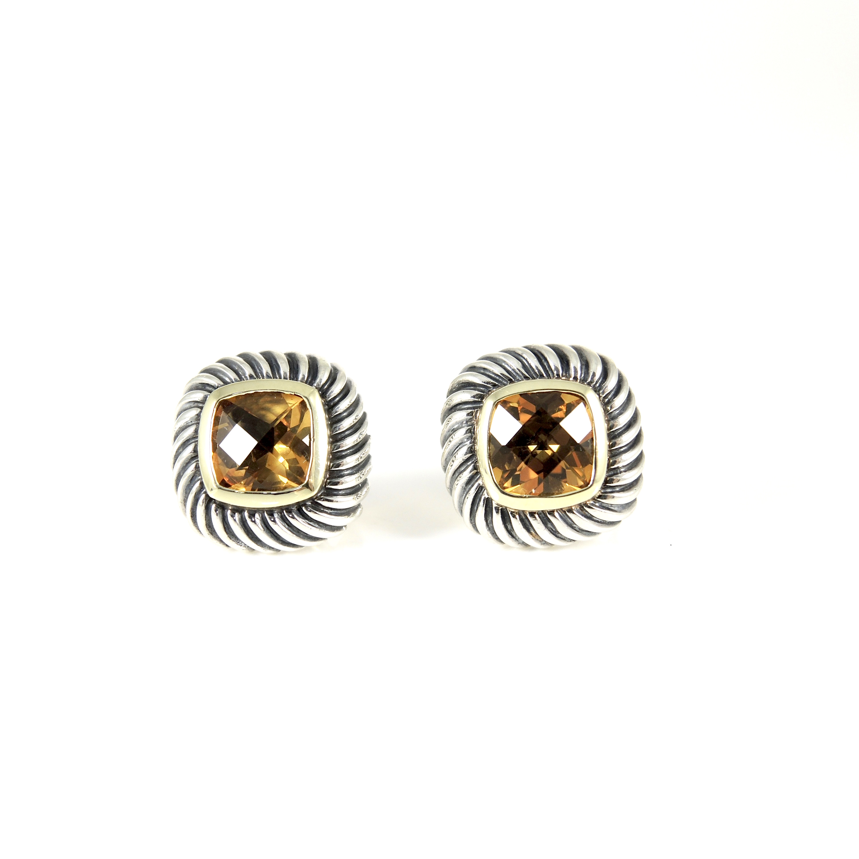"Image of ""David Yurman Sterling Silver 14K Yellow Gold Citrine Small Square"""