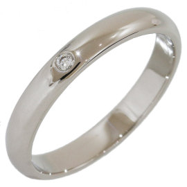 Cartier Platinum 1P Diamond Simple Wedding Band Ring Size 4