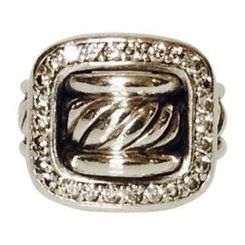 David Yurman Sterling Silver Diamond Buckle Ring Size 5