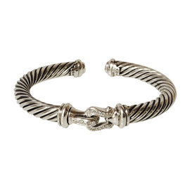 David Yurman Classic Cable 925 Sterling Silver & Diamond Buckle Cuff Bracelet