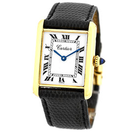 Cartier Tank 18K Yellow Gold & Leather Manual Vintage 23mm Unisex Watch