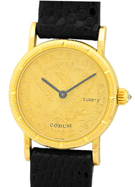"Image of ""Corum 1894 Five Dollar U.s. Coin 18K Yellow Gold Dress Womens Watch"""