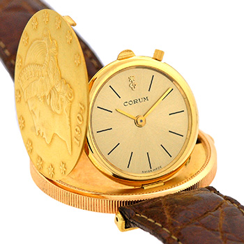 "Image of ""Corum 18K Yellow Gold & Leather Hidden Coin Strap Manual 35mm Mens"""