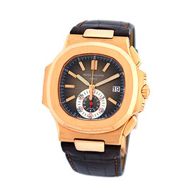 Patek Philippe Nautilus 5980-R 18K Rose Gold & Leather Automatic 39mm Mens Watch