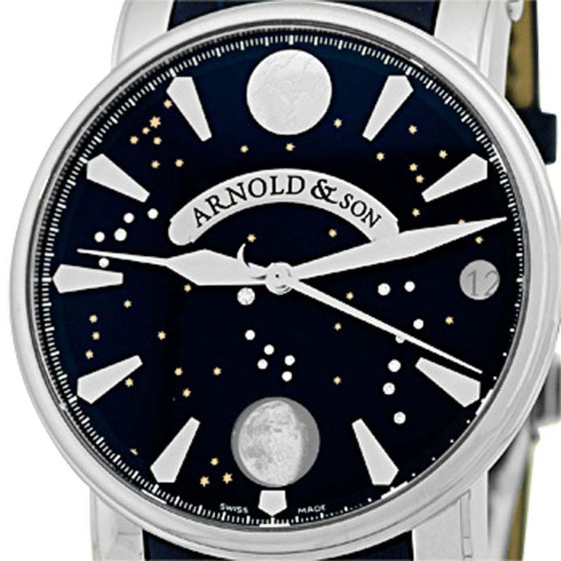 """Image of """"Arnold & Son True Moon Stainless Steel Strap Mens Watch"""""""