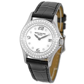 Patek Philippe Calatrava 4906 G 18K White Gold & Diamond 28mm Womens Watch