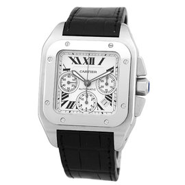 Cartier Santos W20090X8 Stainless Steel & Leather Automatic 38mm Mens Watch