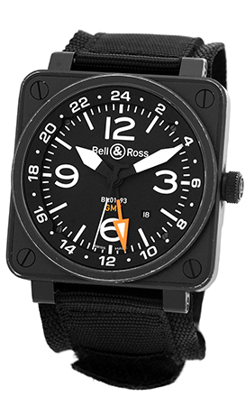 """Image of """"Bell & Ross Br01-93 GMT PVD Black Carbon Finish Stainless Steel"""""""