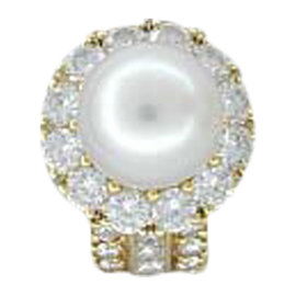 Hammerman 18K Yellow Gold Pearl & 2.84ct Diamond Ring Sz 5.5