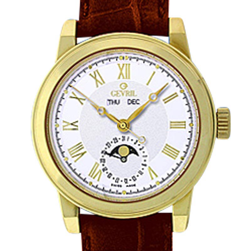 "Image of ""Gevril Chelsea 18K Yellow Gold Mens Strap Watch"""