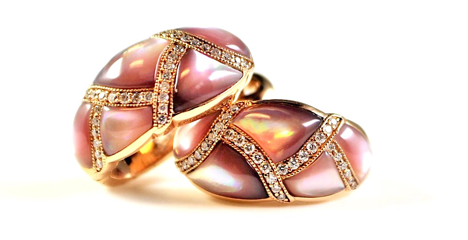 "Image of ""Kabana 14K Rose Gold with 0.23ct Diamonds & Pink Mother of Pearl Inlay"""