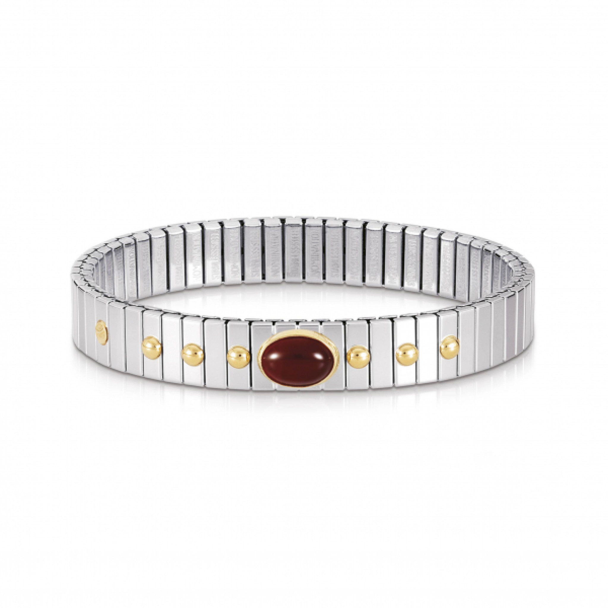 """Image of """"Nomination Stainless Steel & 18K Yellow Gold Red Agate Extension"""""""