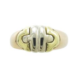 Bulgari Parentesi 18K Yellow and White and Rose Gold Ring Size 5.5