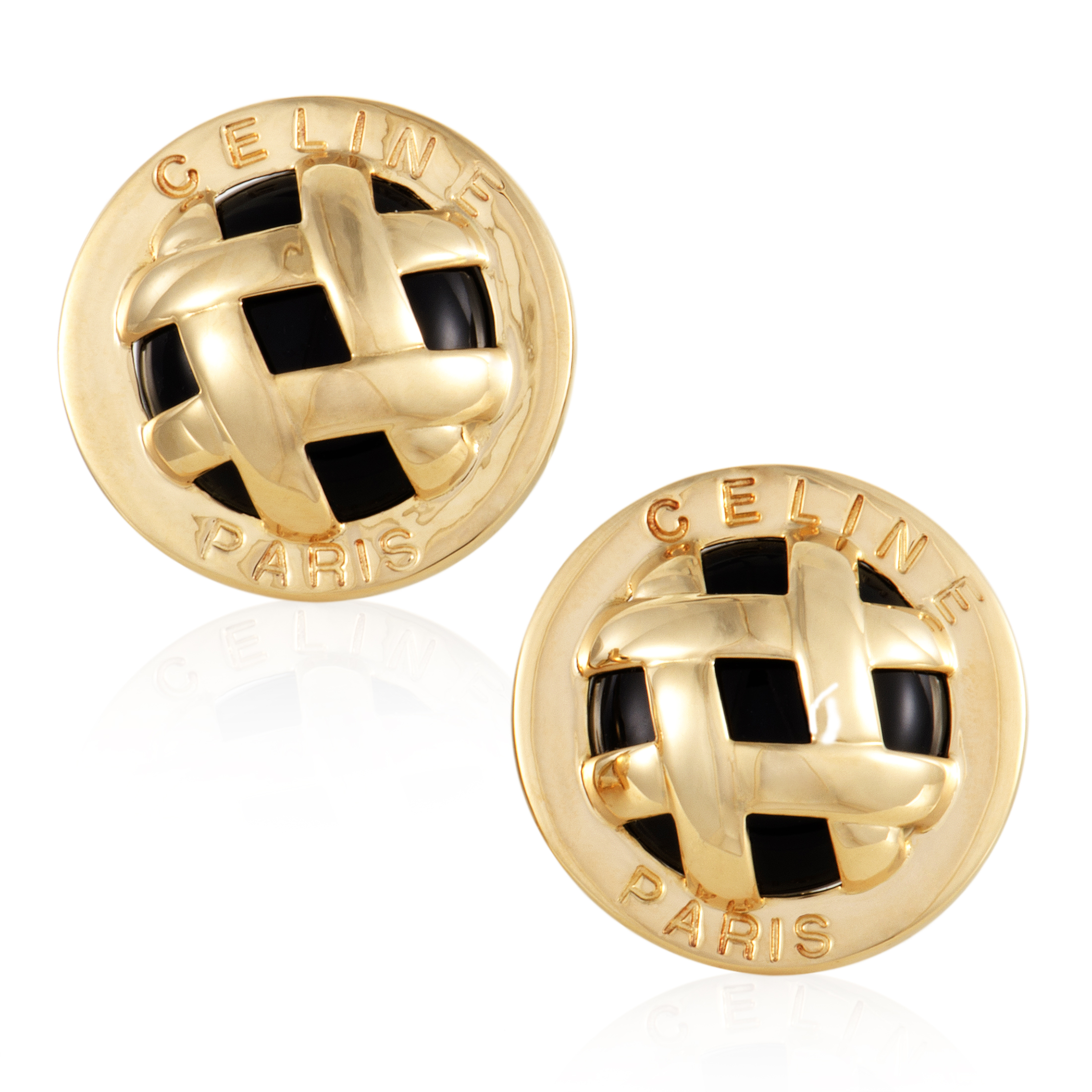"Image of ""Celine 18K Yellow Gold and Onyx Lattice Clip-on Earrings"""