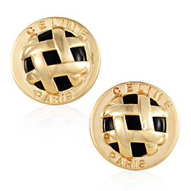 Celine 18K Yellow Gold and Onyx Lattice Clip-on Earrings