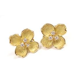 Tiffany & Co, 18K Yellow Gold Diamond Dogwood Flower Stud Earrings