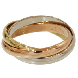 Cartier De 18K Yellow, White and Pink Gold Trinity Ring Size 4.75