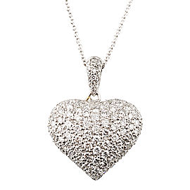 18K White Gold 1.4ct Pave Diamond Heart Pendant Necklace